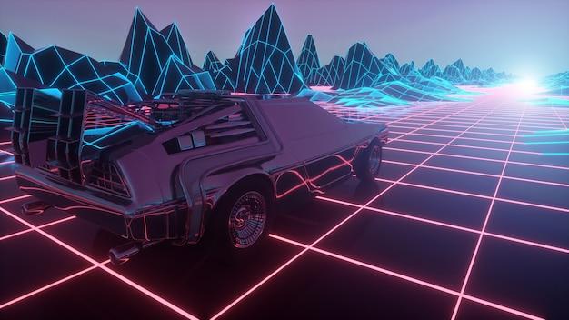 L'auto futuristica retrò si muove su un paesaggio al neon virtuale