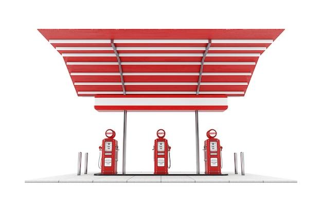 Retro stazione di benzina o di benzina su sfondo bianco. rendering 3d