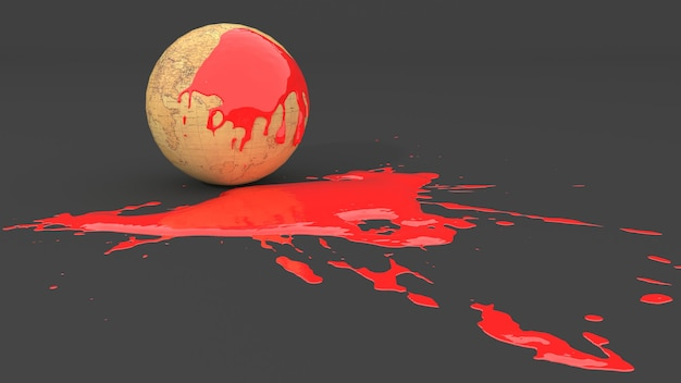 Globo retrò macchiato di vernice rossa sotto forma di macchia, illustrazione 3d