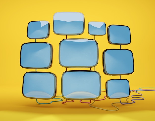 Cinescopi retrò per ricevitori tv su sfondo giallo, illustrazione 3d