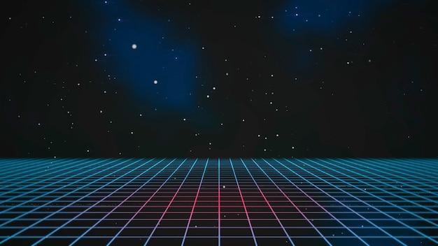 Linee retrò e griglia nello spazio, sfondo astratto. elegante e lussuosa illustrazione 3d in stile anni '80 e '90