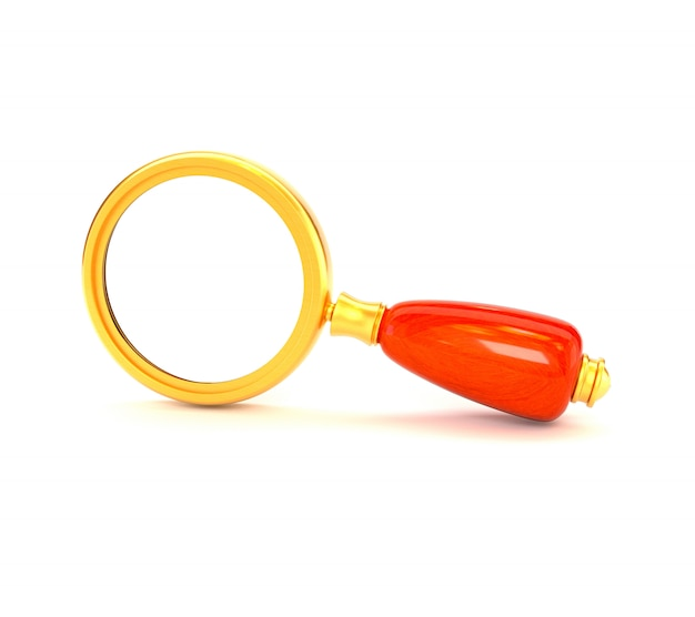 Retro lente d'ingrandimento dorata isolata su fondo bianco. seo marketing. illustrazione 3d