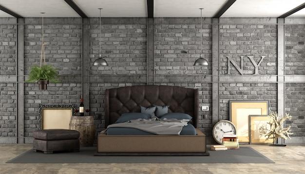 Retro camera da letto matrimoniale in un soppalco
