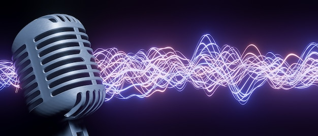 Microfono retrò in primo piano con onda sonora rossa e blu luminosa in sottofondo. rendering 3d