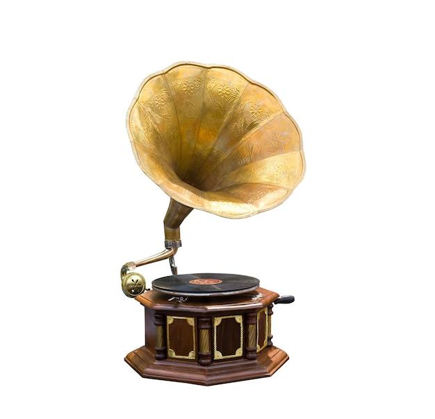 Retro vecchio grammofono con altoparlante a tromba