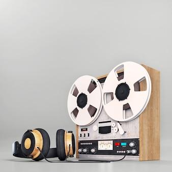 Retro vecchio registratore e cuffie