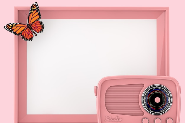 Radio rosa retrò davanti alla cornice rosa vuota con farfalla su sfondo rosa. rendering 3d