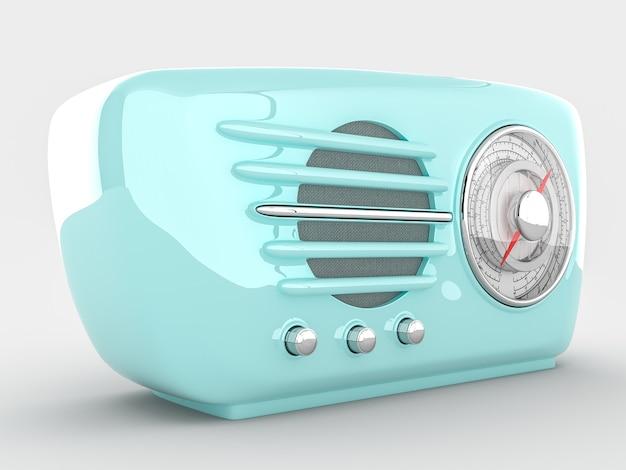 Dispositivo radio retrò su sfondo bianco. rendering 3d realistico