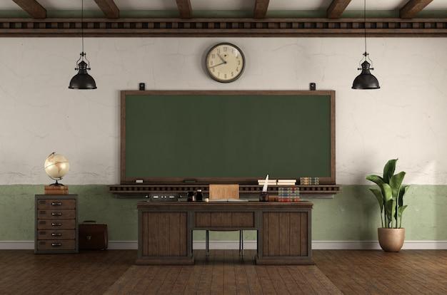 Aula vuota di stile retrò con lavagna e scrivania