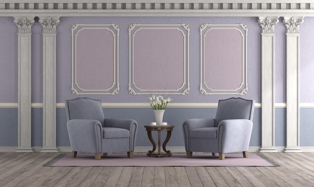Soggiorno in stile retrò con colori pastello, poltrona elegante ed elementi di arredo classici - rendering 3d