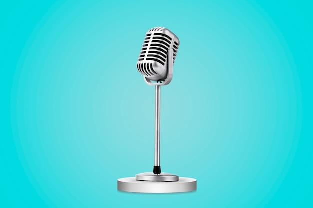 Microfono stile retrò isolato su sfondo blu