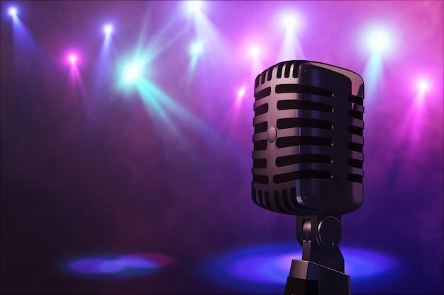 Microfono in stile retrò sul palco nella performance dei riflettori del gruppo musicale. microfono per musica rock, rock'n'roll e rockabilly. rendering 3d