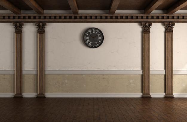 Camera in stile retrò con colonne in legno e pavimento in legno
