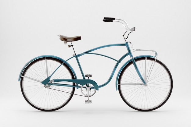 Immagine in stile retrò di una bicicletta del diciannovesimo secolo isolata su una superficie bianca