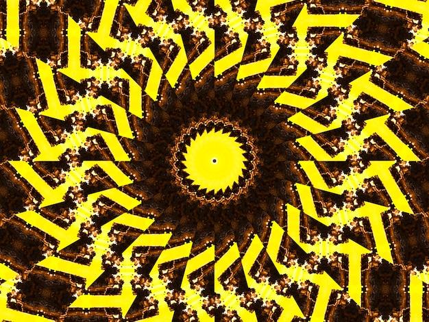 Poster a tema retrò, colore beige giallo con una stella nera al centro. modello caleidoscopico e cubico.