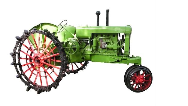 Trattore retrò. agricoltura e agricoltura. auto affidabile. illustrazione. vecchio trattore dall'america latina. sfondo bianco isolato.