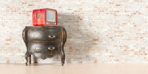 Tv retrò nel vecchio interno con il vecchio muro di mattoni nell'illustrazione 3d