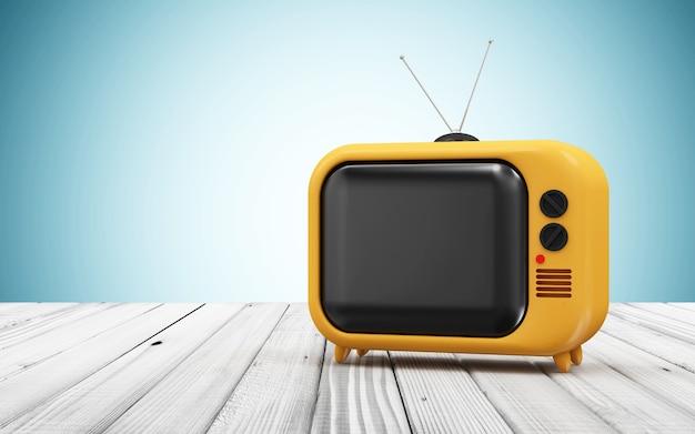 Tv vintage retrò su un tavolo di legno