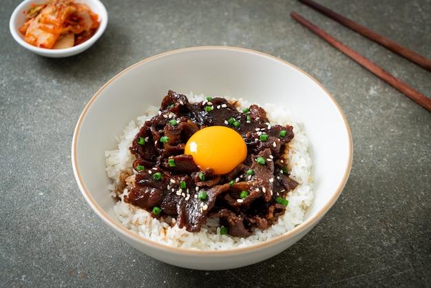 Riso con maiale aromatizzato alla soia o ciotola di maiale giapponese donburi - asian food style