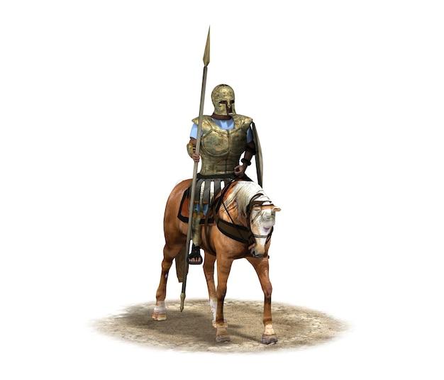Cavaliere guerriero a cavallo rendering 3d