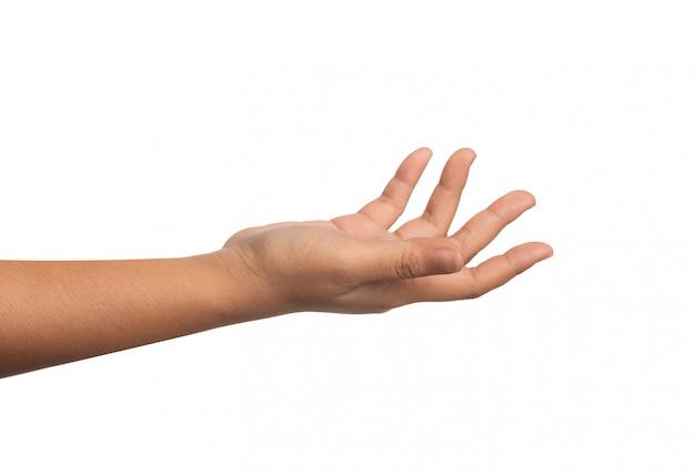 La mano destra di una donna protesa per sostenere qualcosa.