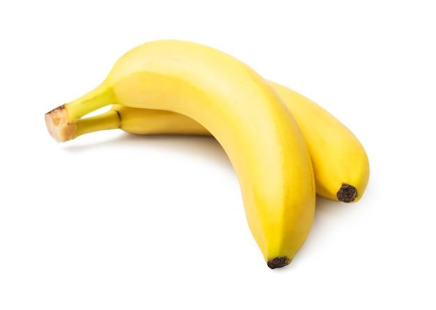 Banana matura isolata su bianco