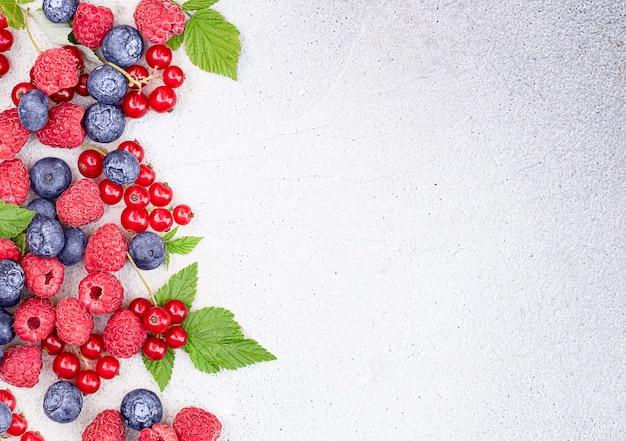 Bacche mature di lamponi, ribes rosso, mirtilli e foglie su uno sfondo di cemento chiaro