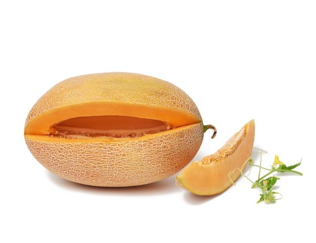 Melone arancione succoso maturo e pezzo tagliato con semi, germoglio verde con foglie e fiori isolati su priorità bassa bianca