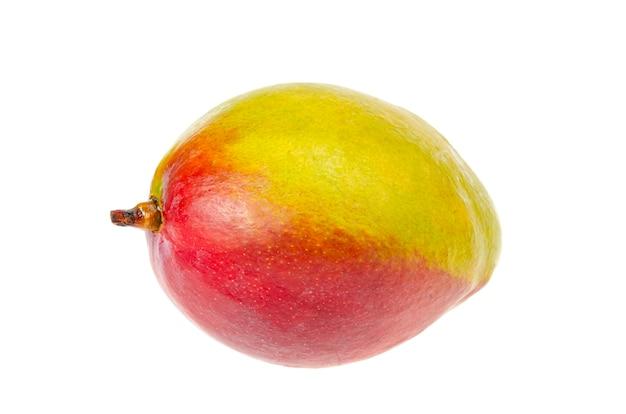 Mango rosso-verde maturo, succoso e dolce. frutti esotici isolati su bianco. foto di studio