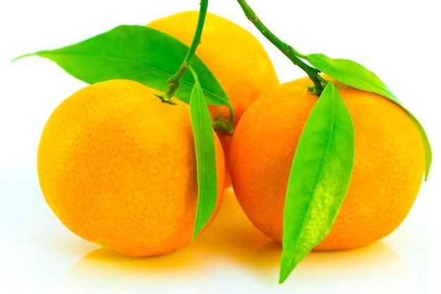 Mandarini maturi con foglie di close-up su uno sfondo bianco