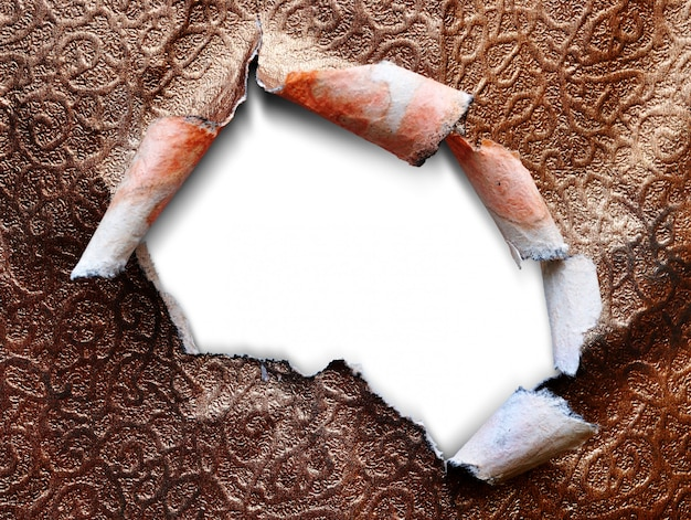 Fondo bianco isolato modello di carta strappato struttura