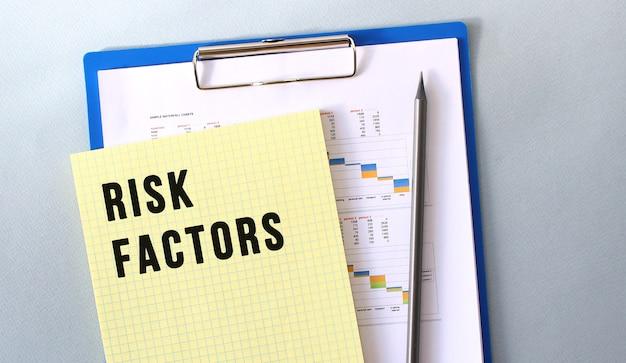 Fattori di rischio testo scritto sul blocco note con la matita. blocco note su una cartella con diagrammi. concetto finanziario.