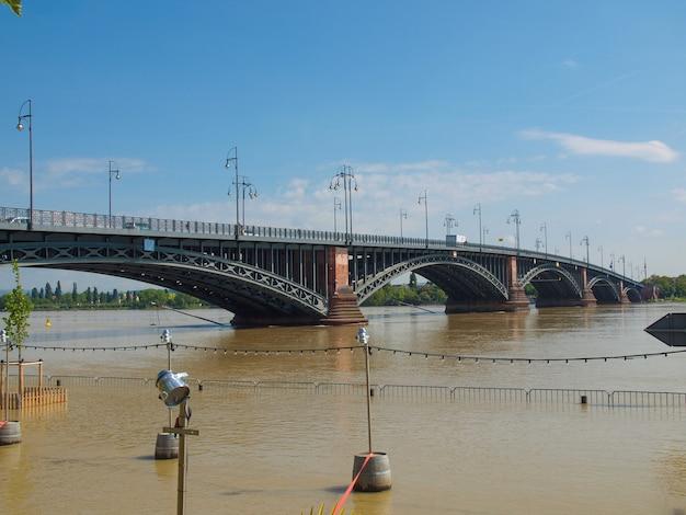 Inondazione del fiume reno a mainz, germania