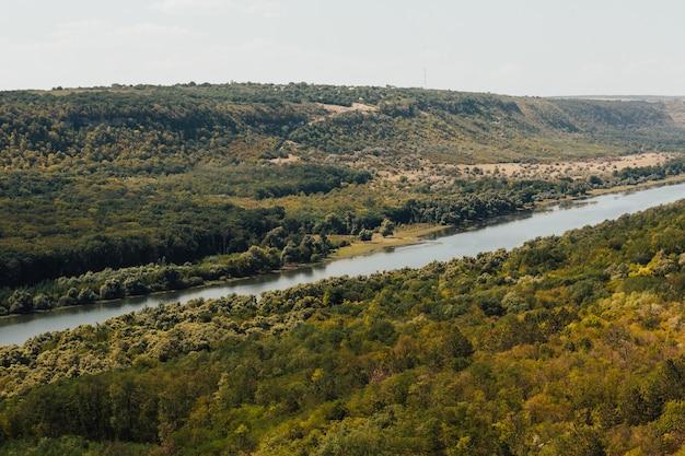 Valle del fiume nella foresta circondata da montagne