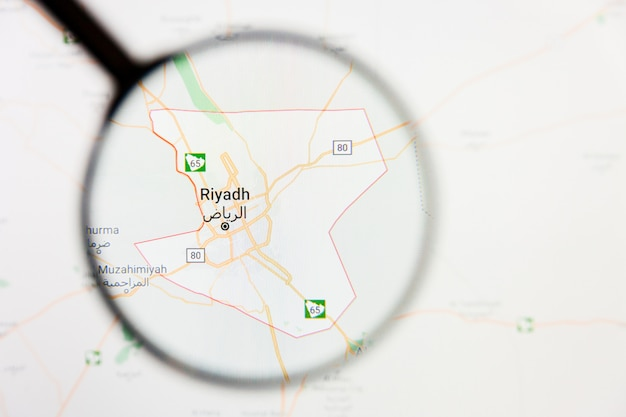 Riyadh, arabia saudita visualizzazione della città concetto illustrativo sullo schermo attraverso la lente di ingrandimento