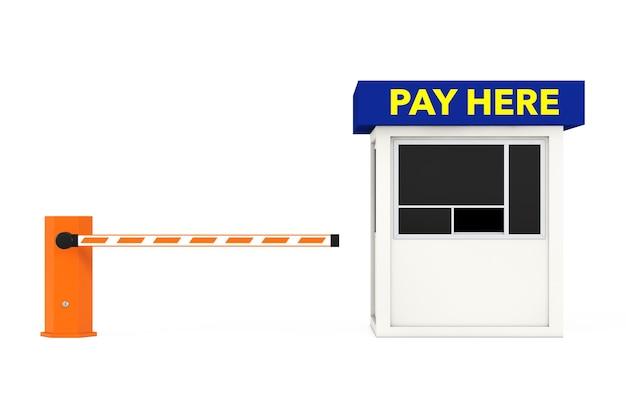 Barriera per auto su strada e cabina della zona di parcheggio con segno di pagamento qui su sfondo bianco. rendering 3d.