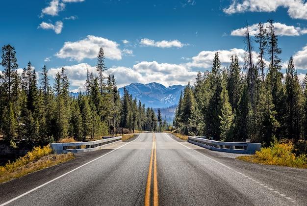 Strada dal parco nazionale di yellowstone al parco nazionale del grand teton, wyoming, usa
