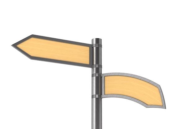 Puntatore stradale su uno spazio bianco. illustrazione 3d isolata