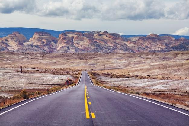 Strada nel paese della prateria. deserto paesaggio naturale.