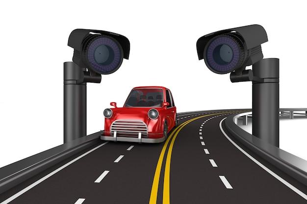 Telecamere di sicurezza stradale. rendering 3d isolato