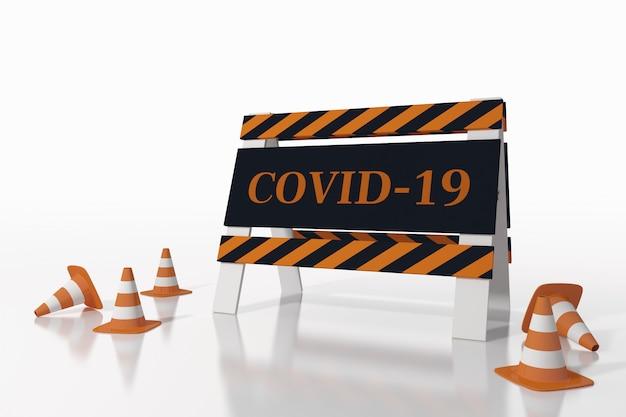 Cartello stradale che indica la chiusura per malattia covida 19. rendering 3d