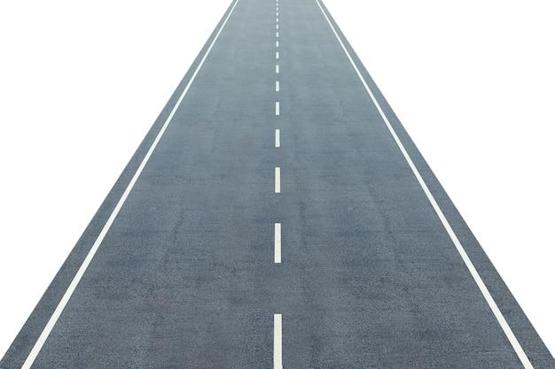 Strada con una marcatura che va a distanza isolata su bianco.
