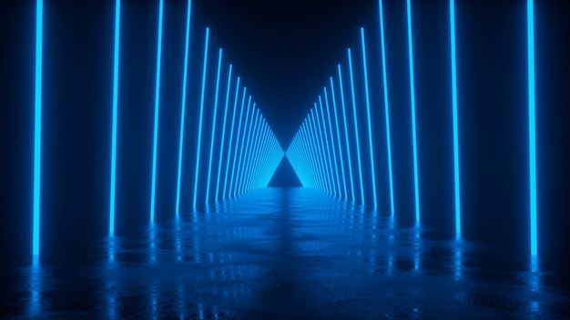 Strada con riflessi lungo la quale le linee al neon nel rendering 3d blu