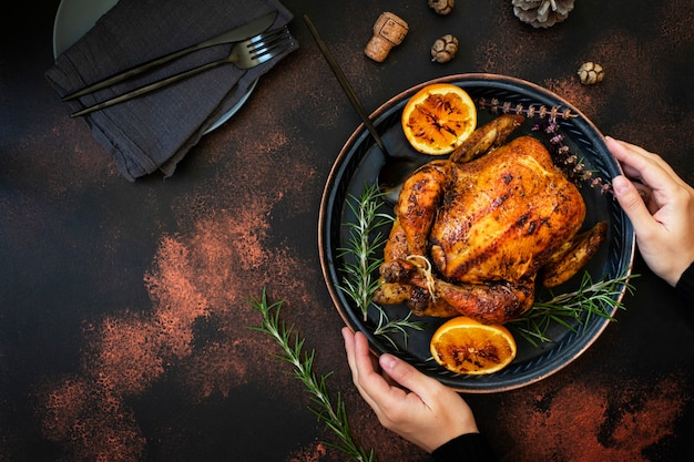 Pollo arrosto con arancia e rosmarino