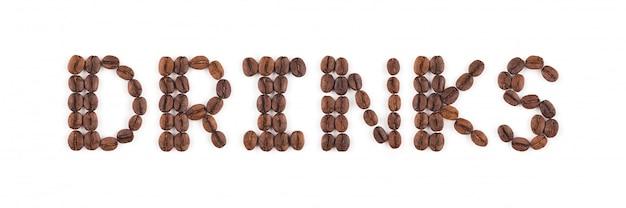 Chicchi di caffè tostati in lettere
