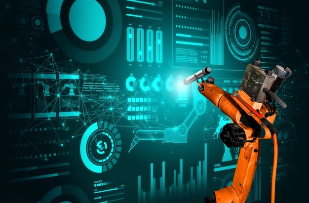 L'intelligenza artificiale del braccio robotico analizza la matematica per la risoluzione dei problemi dell'industria meccanizzata