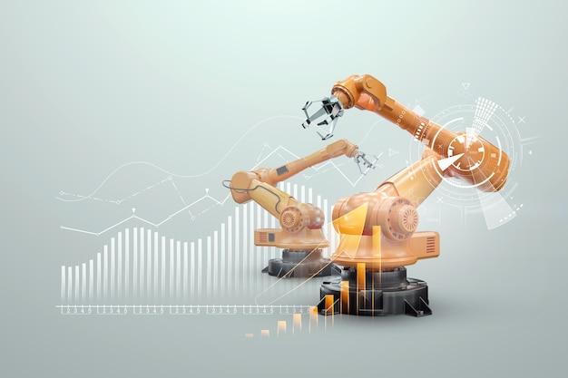 Manipolatore del braccio robotico in fabbrica. tecnologia di automazione industriale. concetto di tecnologia iot, fabbrica intelligente. operazione di produzione digitale. rendering 3d, illustrazione 3d.