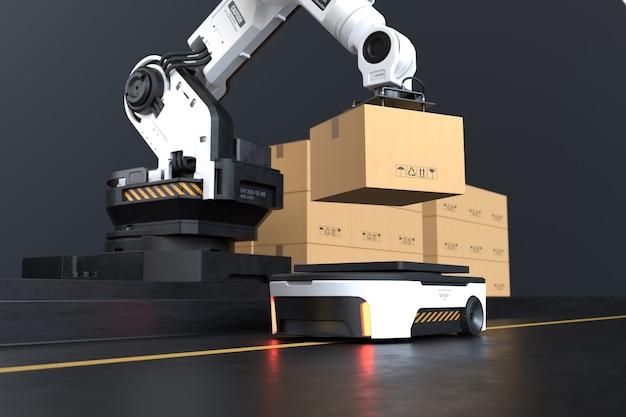 Il braccio del robot solleva la scatola su autonomous