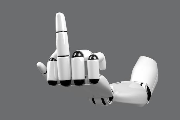 Il braccio del robot che mostra il dito medio