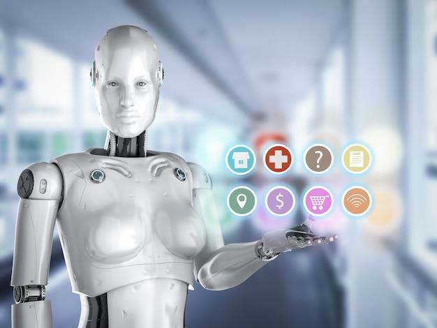 Concetto di assistente robot con rendering 3d cyborg femminile con display a icone